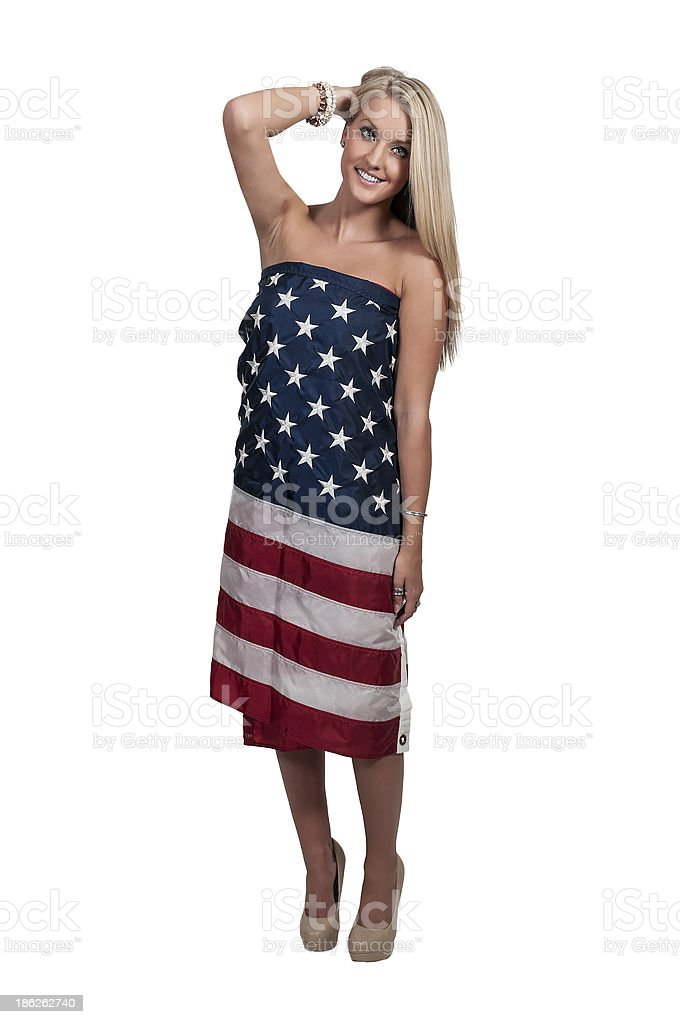 Woman Wrapped in a Flag royalty-free stock photo