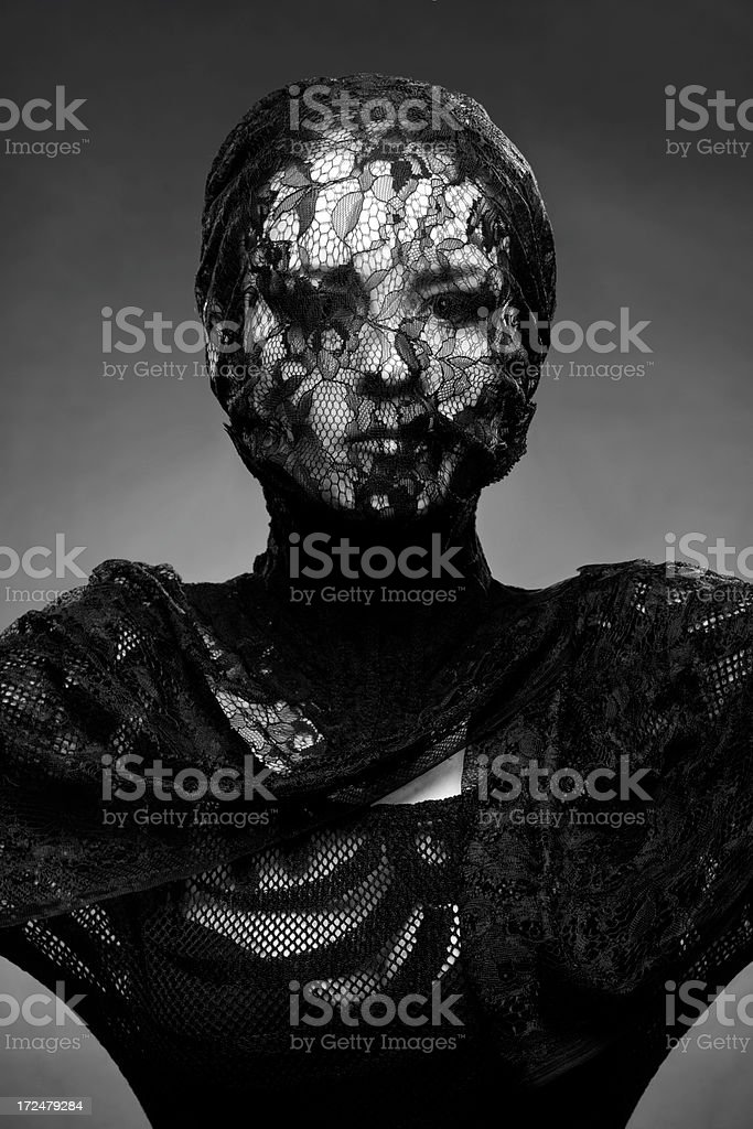 woman wrapped in lace royalty-free stock photo