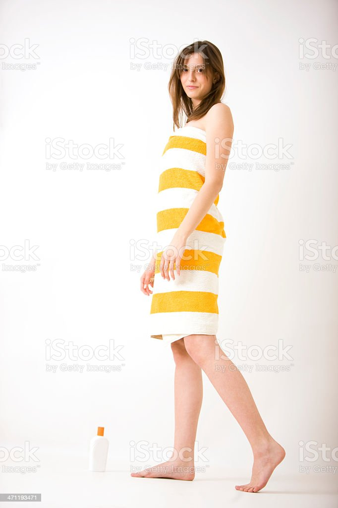 Woman wrapped in towel royalty-free stock photo