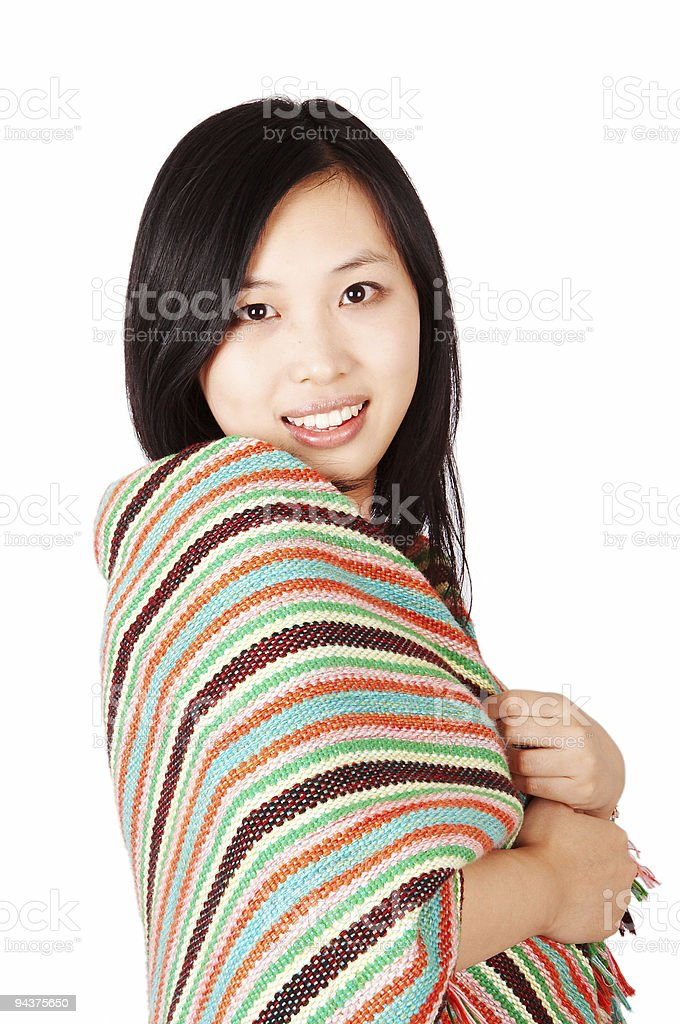 Woman wrapping in a shawl royalty-free stock photo