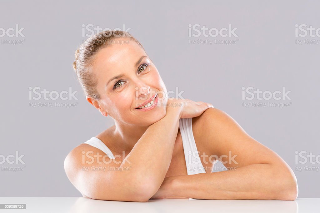 Woman, Wrinkles and Anti Aging stock photo