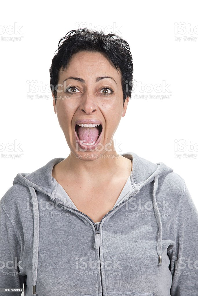 Woman Yelling royalty-free stock photo