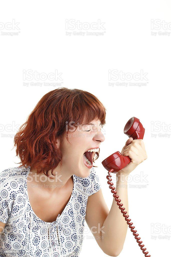 Woman Yells While on the Phone royalty-free stock photo