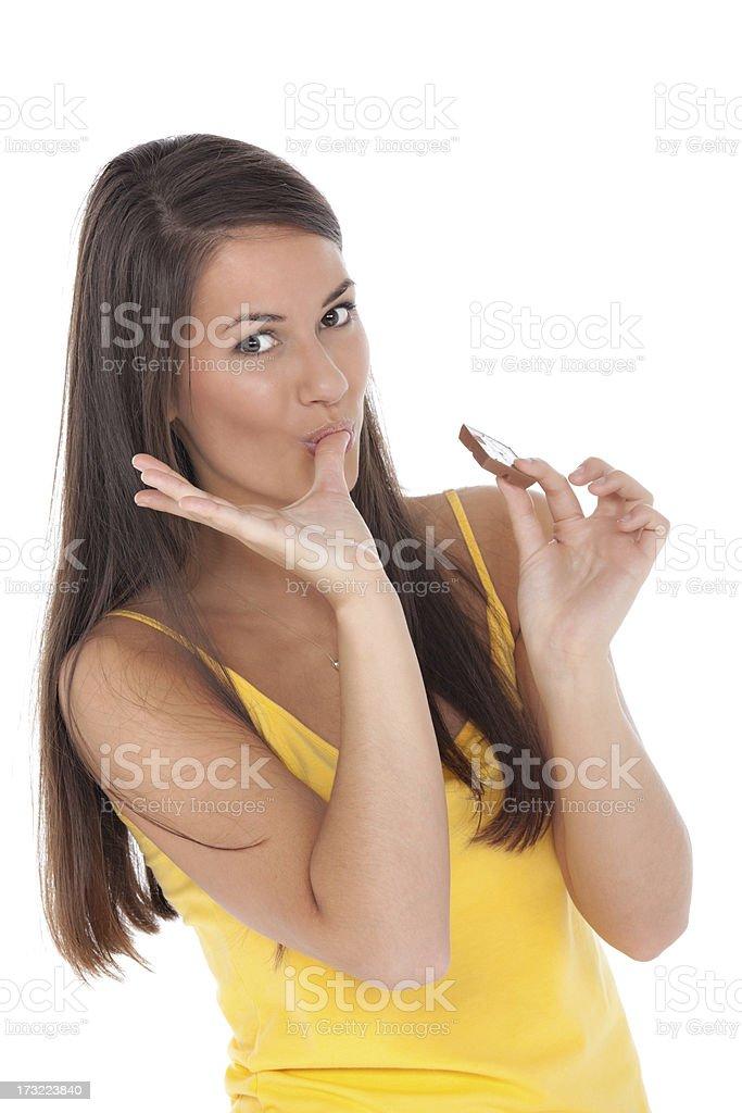 woman yummy chocolate stock photo