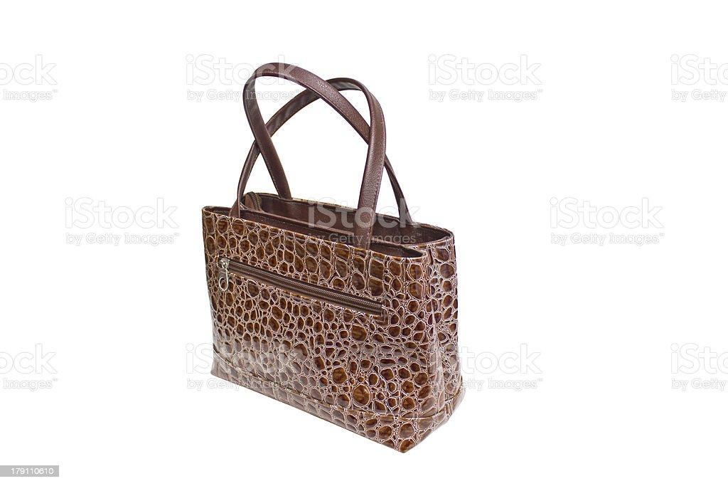 Womanish Brown Crocodile Leather Handbag stock photo