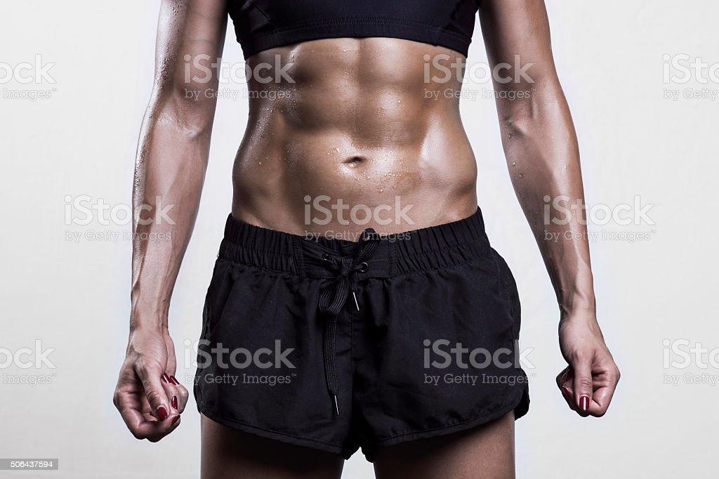 Woman's abs stock photo
