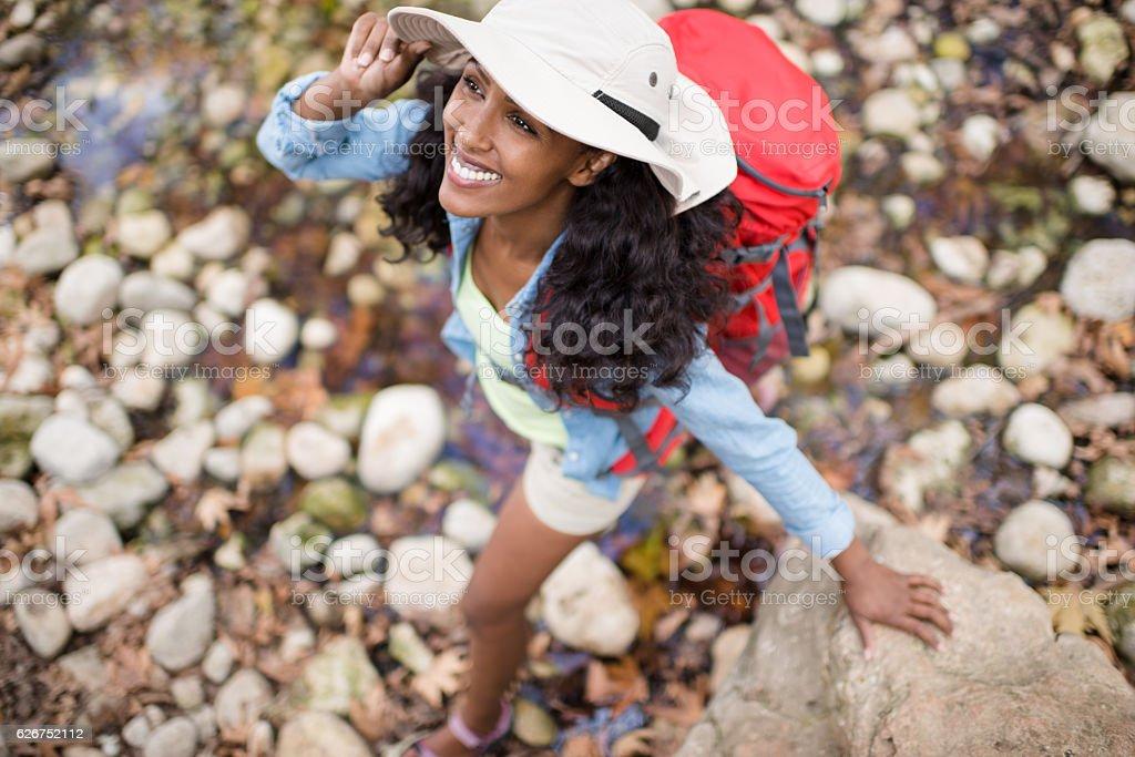 Woman's autumn journey. stock photo