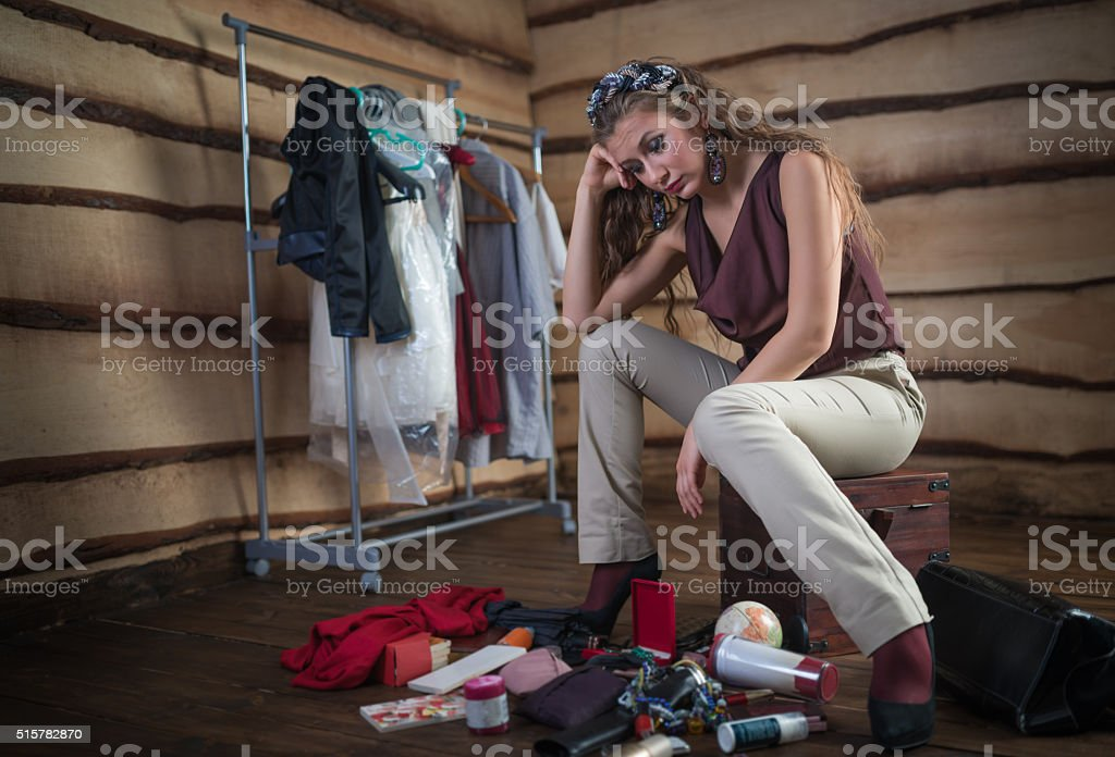 Woman's bag inside out stock photo