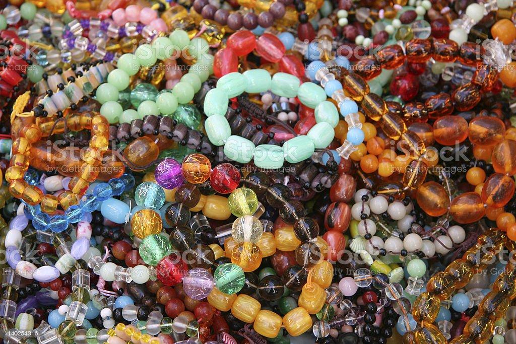 Woman's Bead Bracelets royalty-free stock photo
