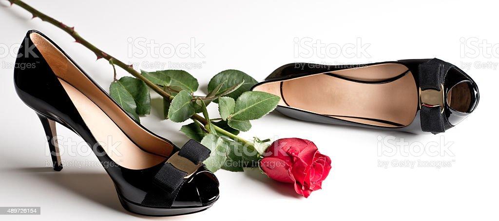 Woman's Black Pumps royalty-free stock photo