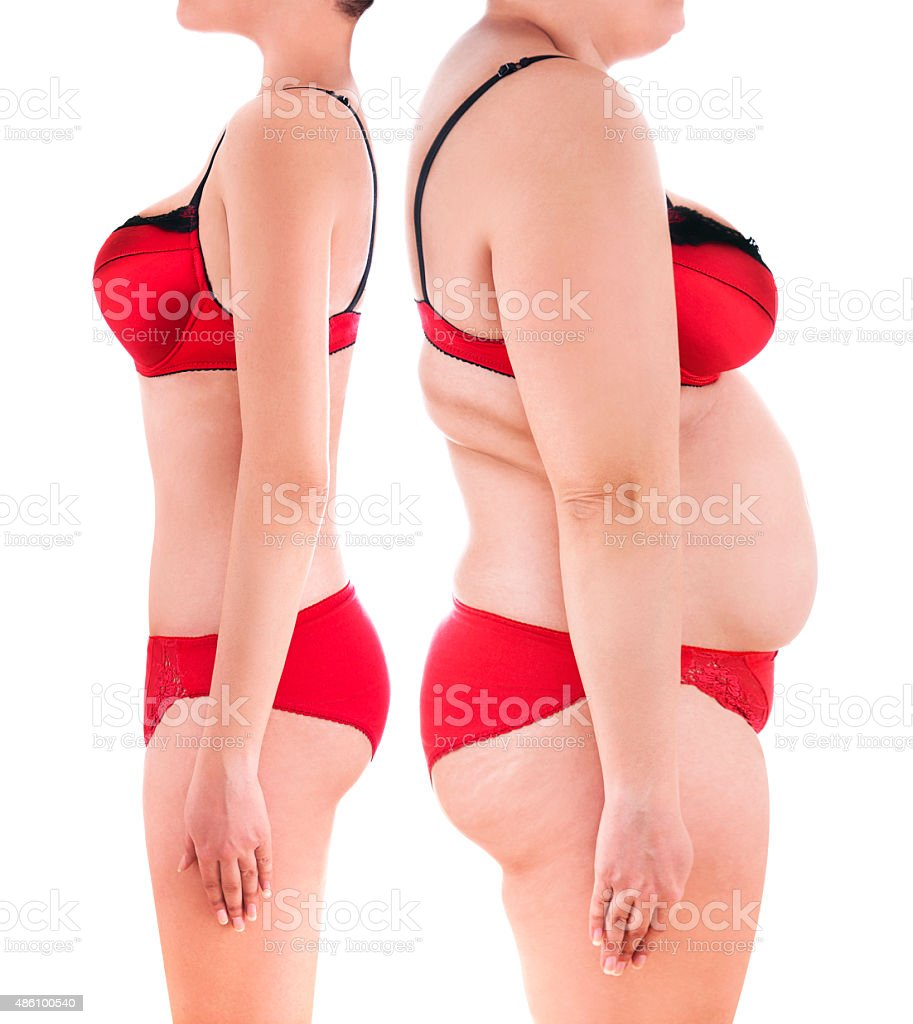 Woman's body before and after a diet stock photo
