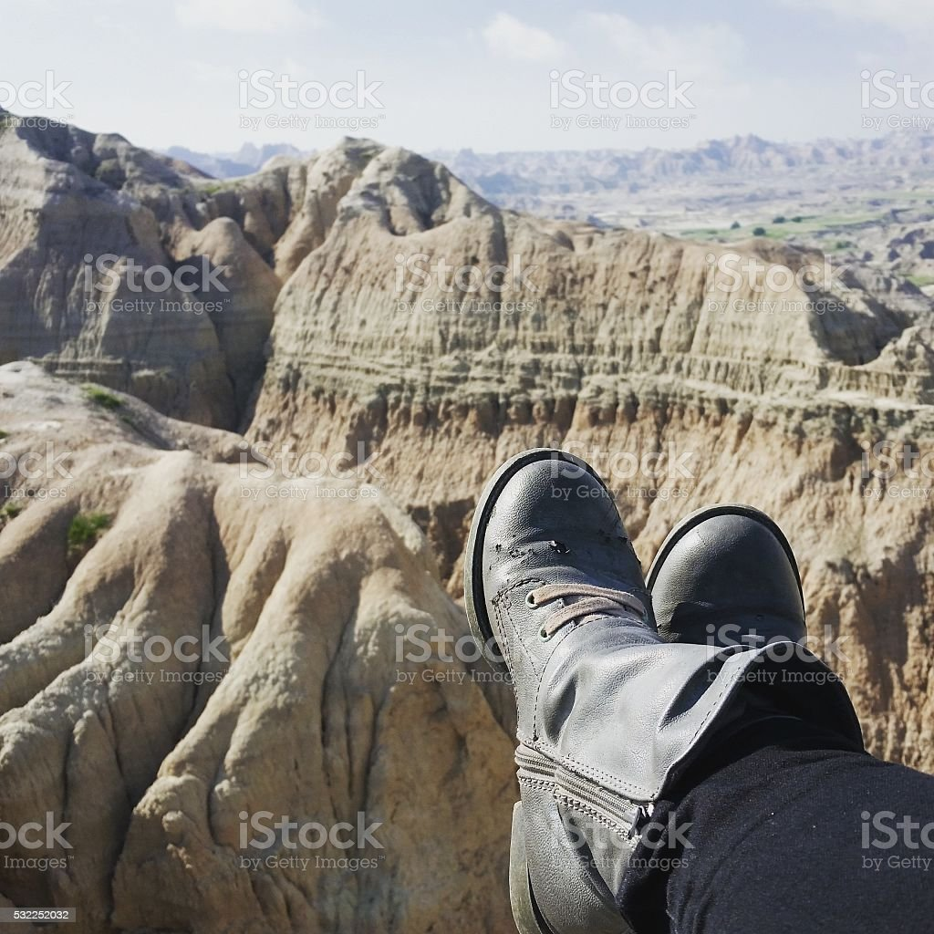 Womans Boots By Badlands National Park South Dakota stock photo