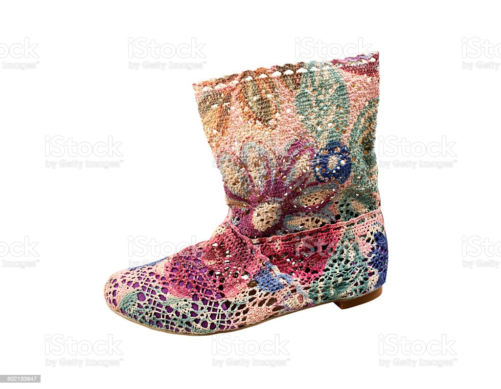Woman's canvas boot royalty-free stock photo