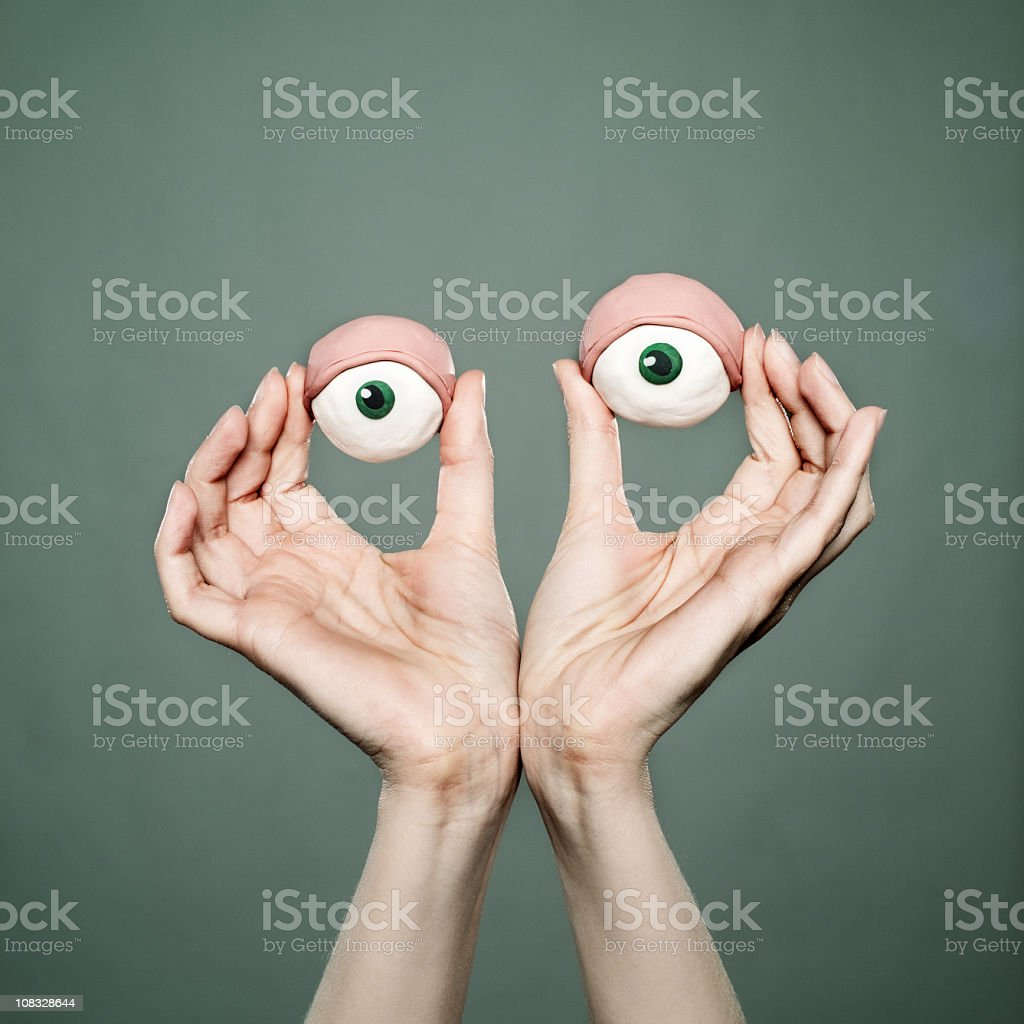 Woman's clay eyes royalty-free stock photo