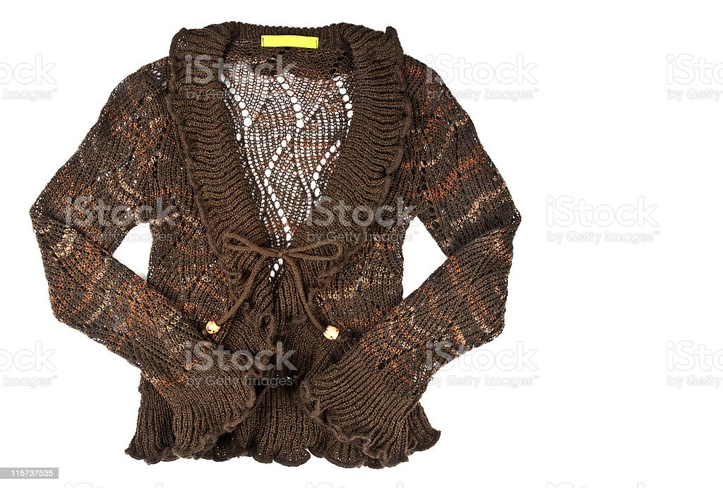 Woman's Crochet Brown Sweater stock photo