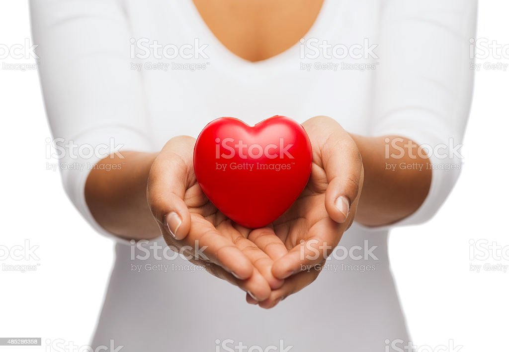 womans cupped hands showing red heart stock photo