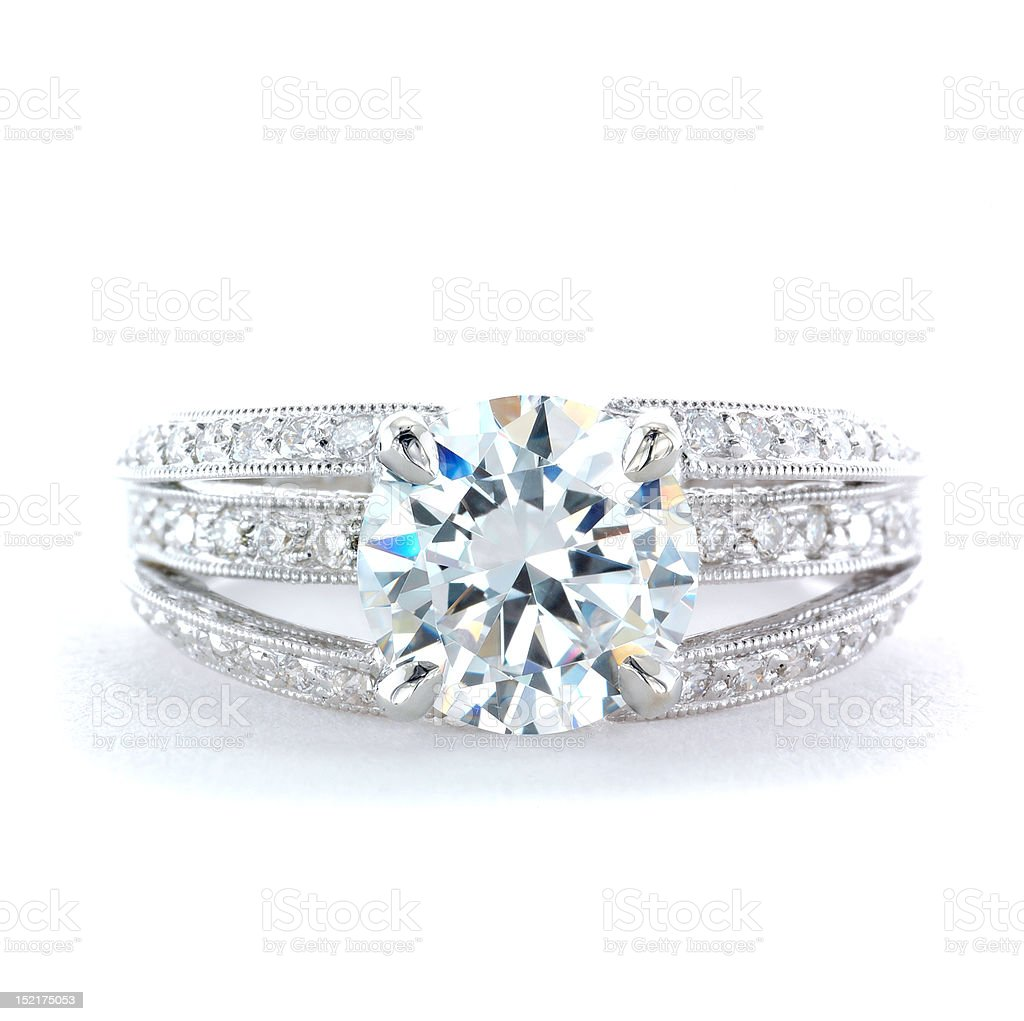 Woman's Diamond and Platinum Wedding Ring stock photo