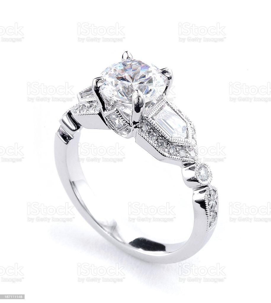 Woman's Diamond and Platinum Wedding Ring royalty-free stock photo