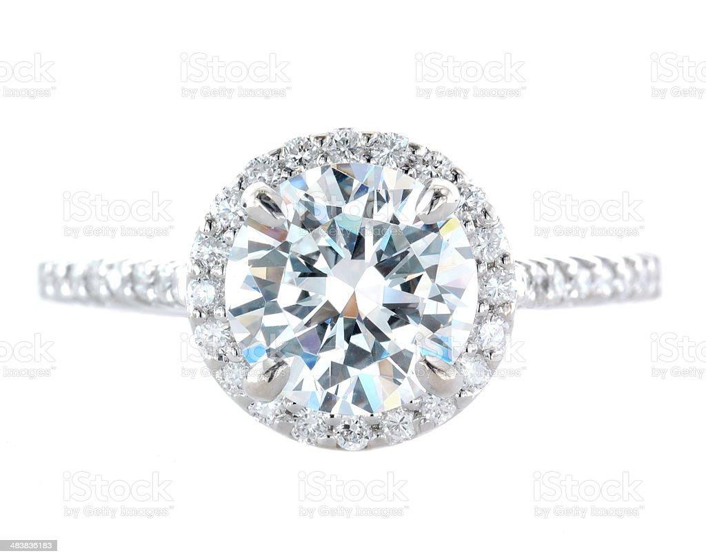 Woman's Diamond and Platinum Wedding Ring stock photo
