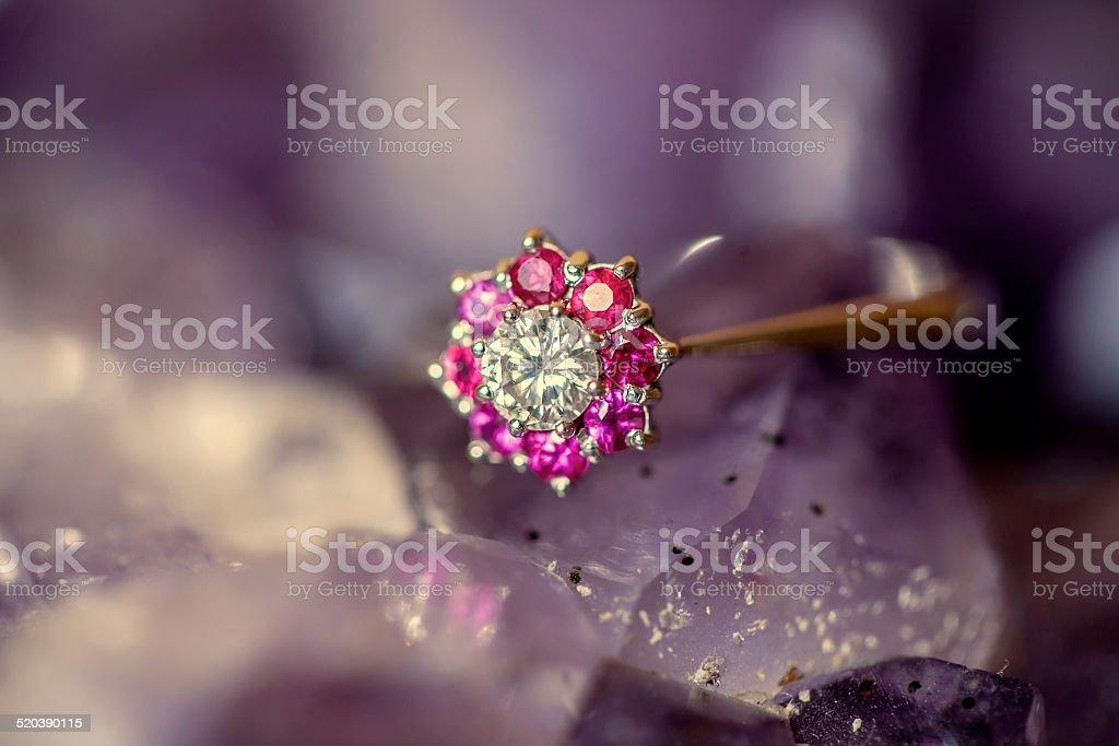 woman's diamond ring stock photo