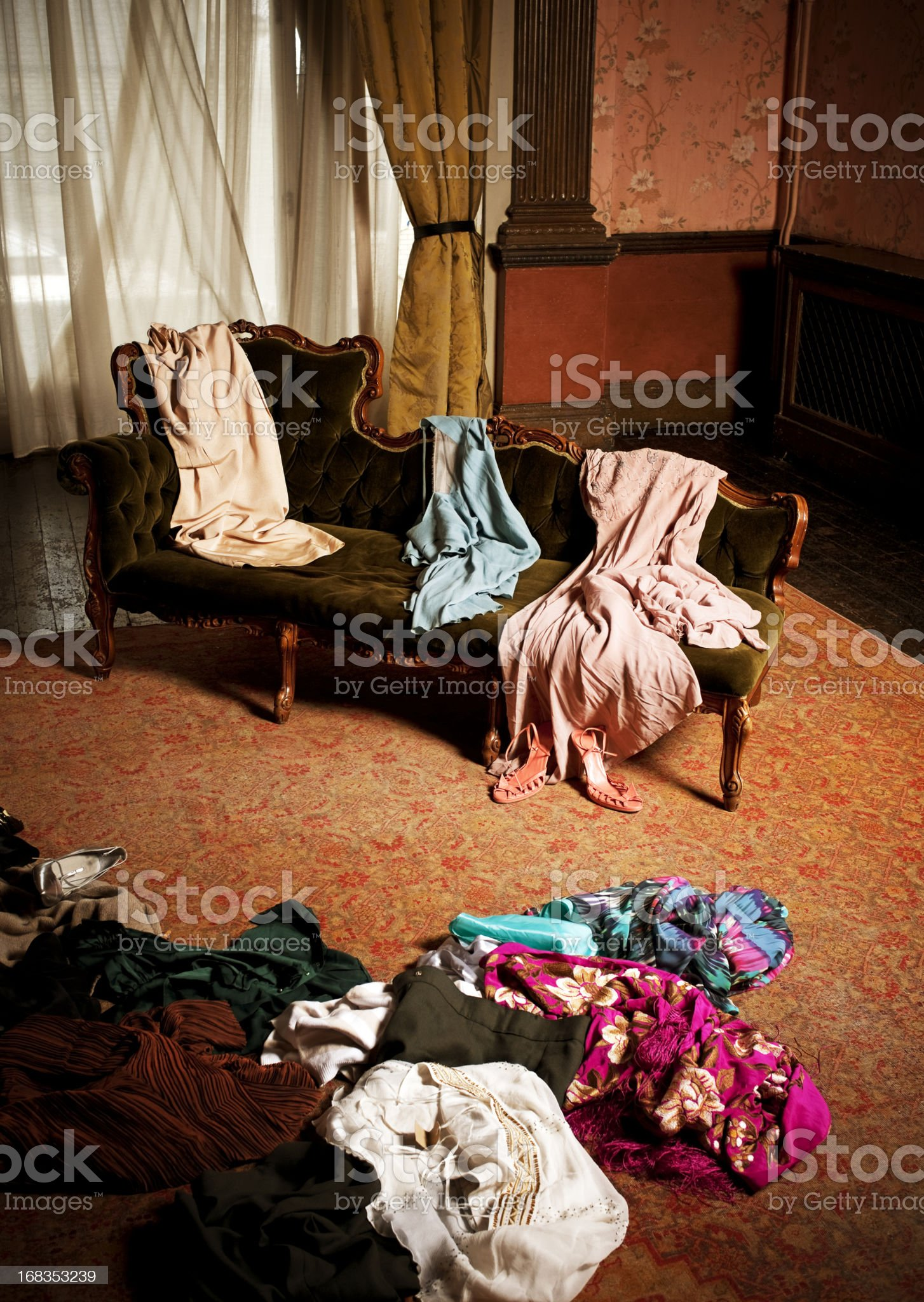 Woman's Dressing Room, Clothing Scattered royalty-free stock photo