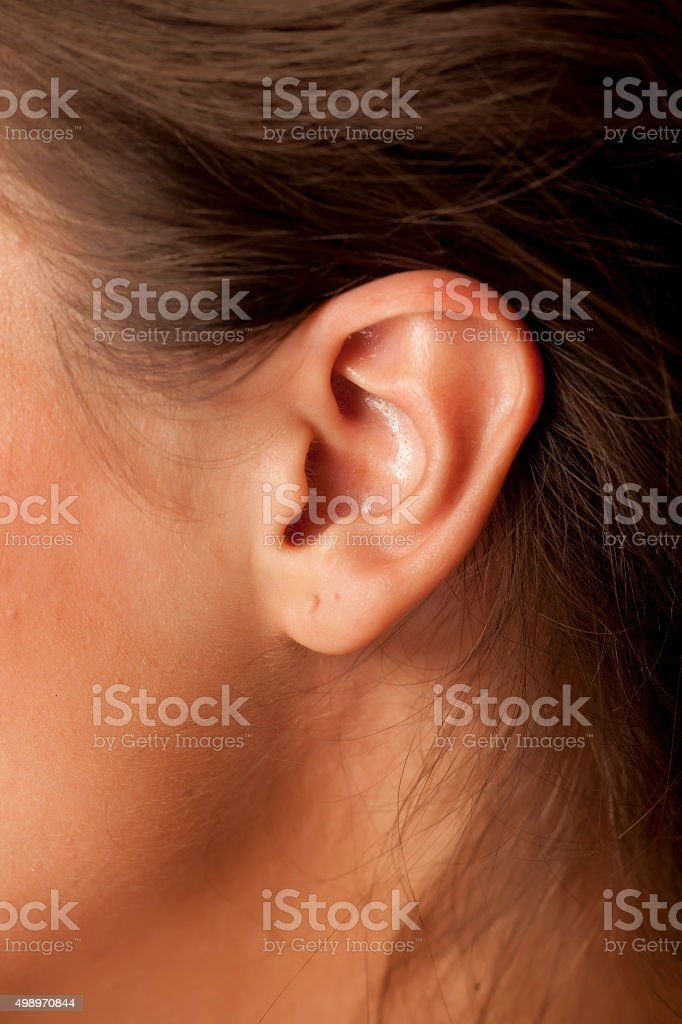 Woman's ear stock photo