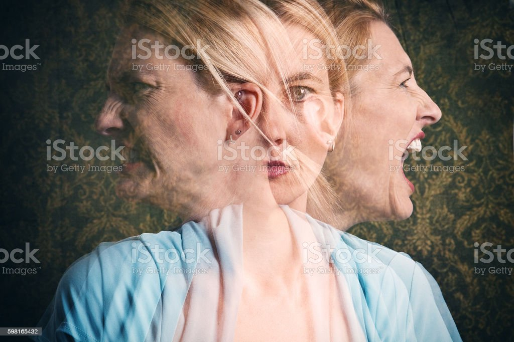 Woman's Emotional Struggle stock photo