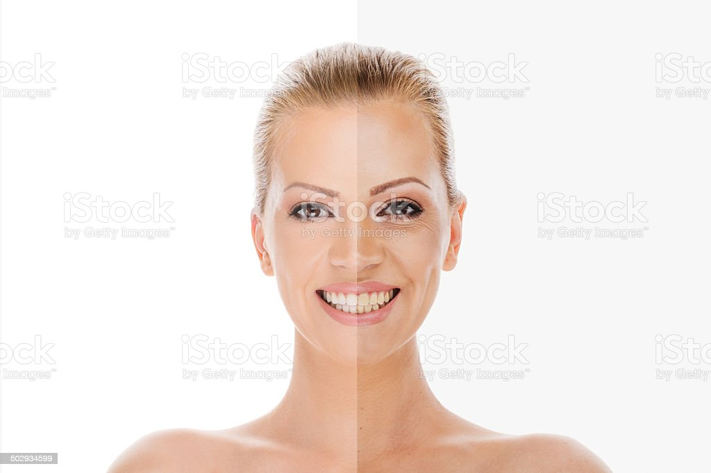 Woman's face before and after retouch stock photo
