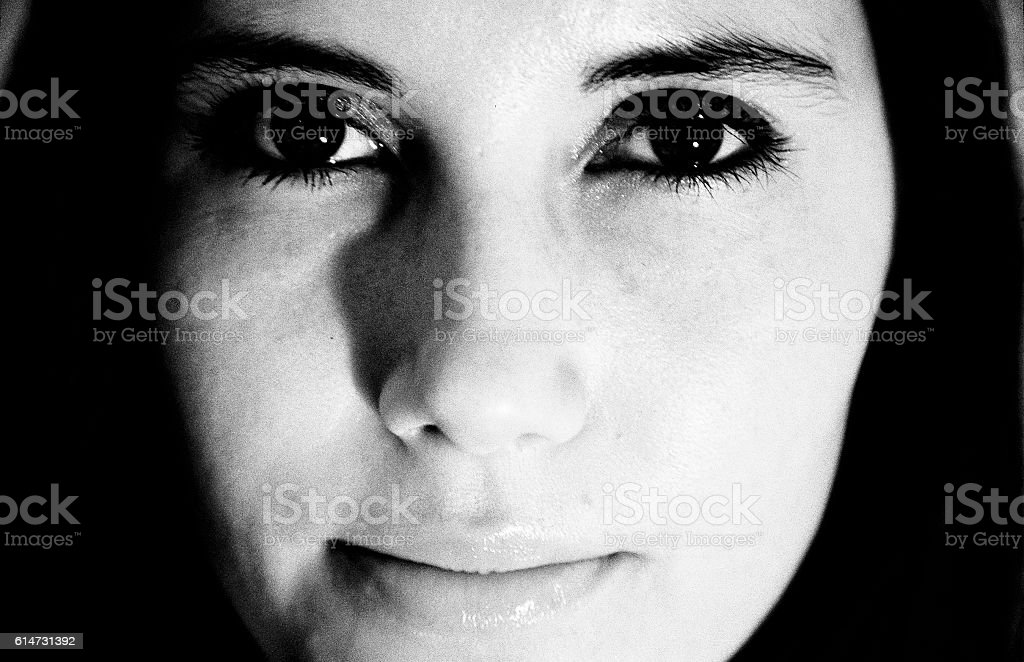 Woman's face; black and white stock photo