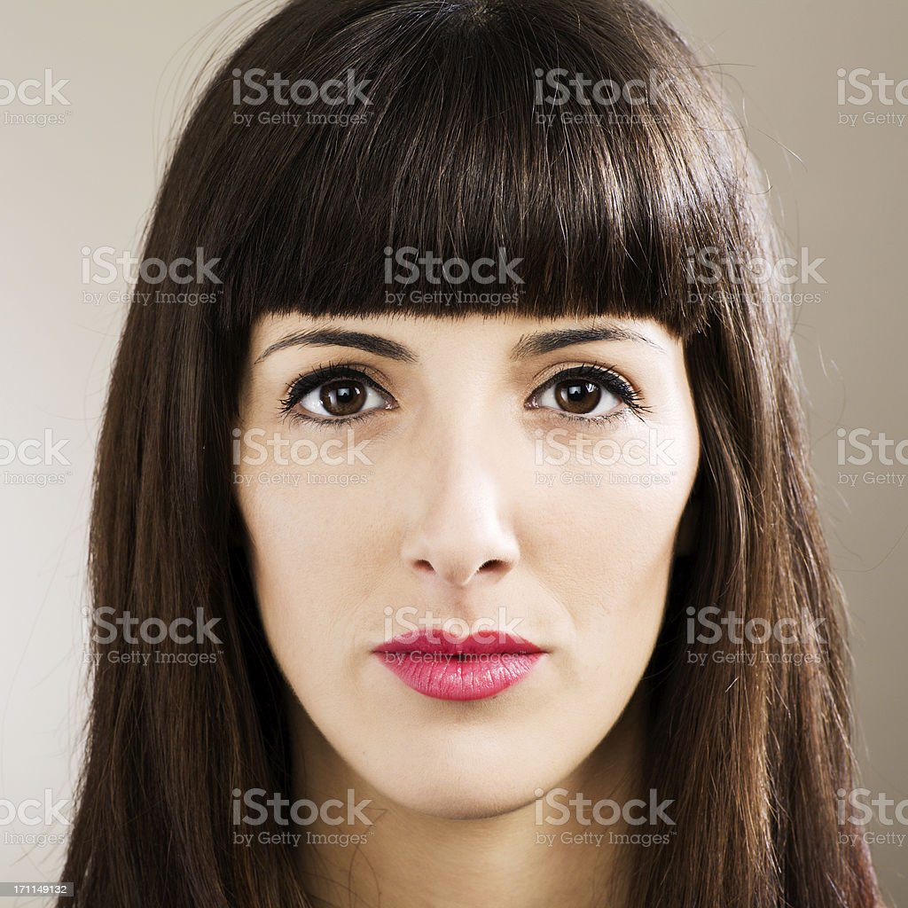 Woman's  face close up _ square stock photo