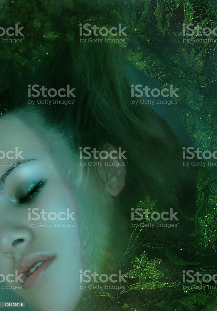 Woman's Face Underwater royalty-free stock photo