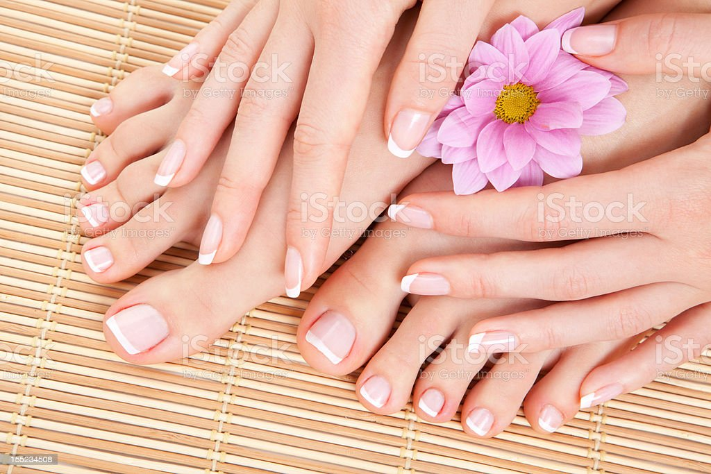 Woman's feet and hands with pink flower royalty-free stock photo