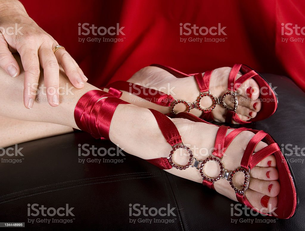 Woman's feet in sexy shoes royalty-free stock photo