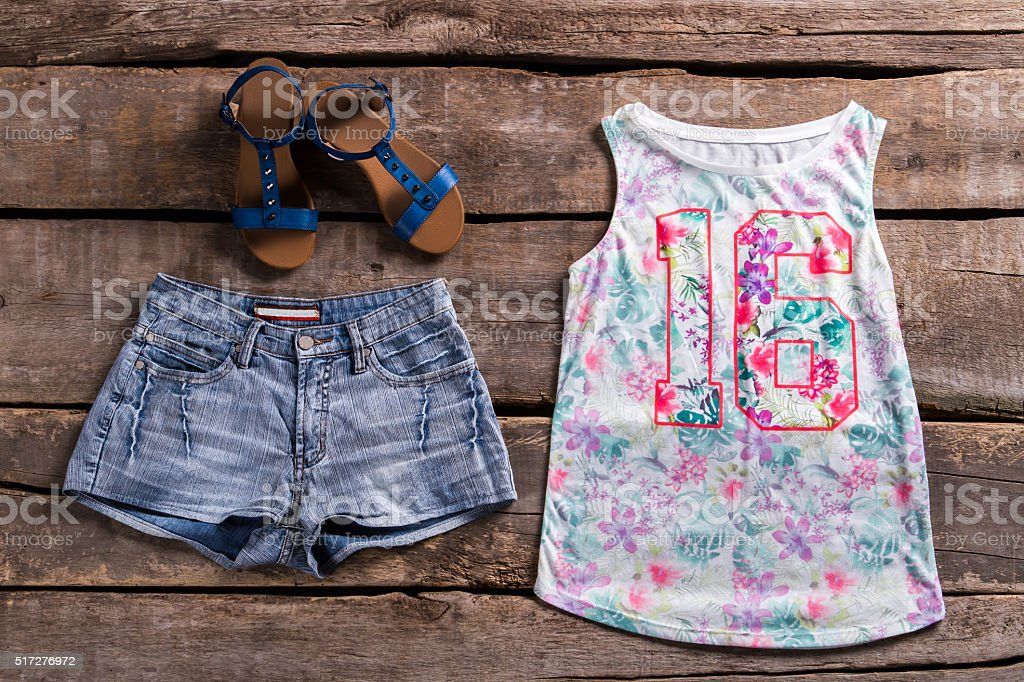 Woman's floral top and shorts. stock photo