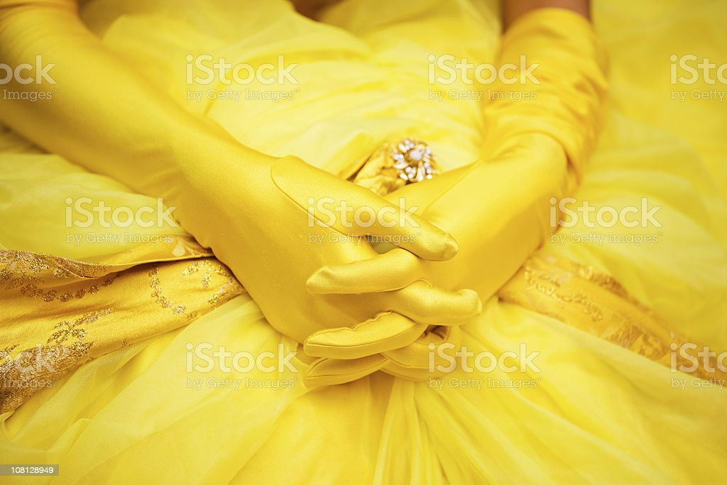 Woman's Gloved Hands Laying on Dress royalty-free stock photo