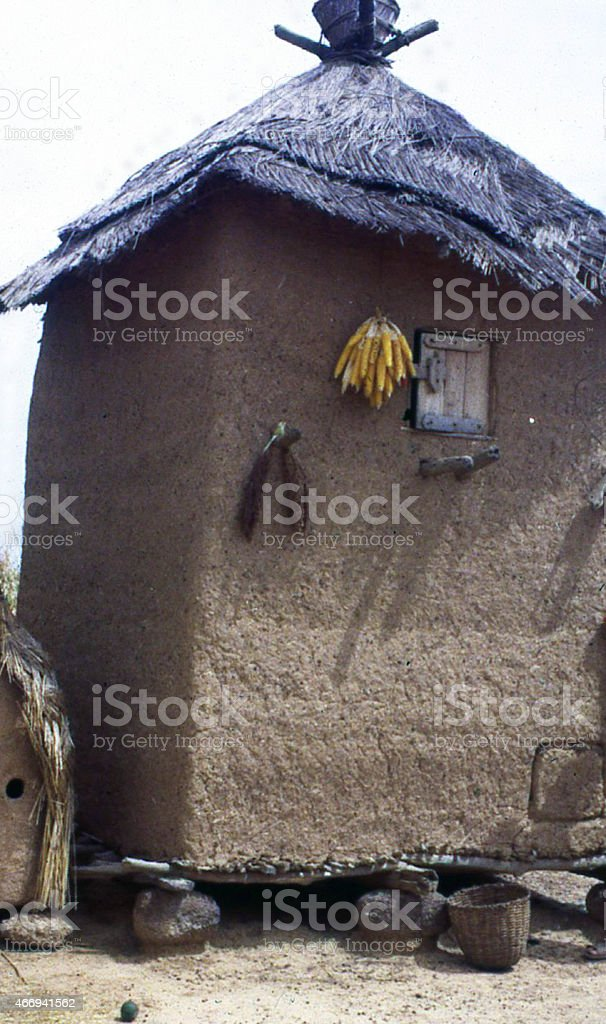 Womans Granary and large Village Storage Burkina Faso West Africa stock photo