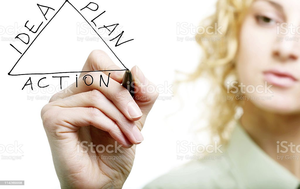 Woman's hand drawing triangle stock photo