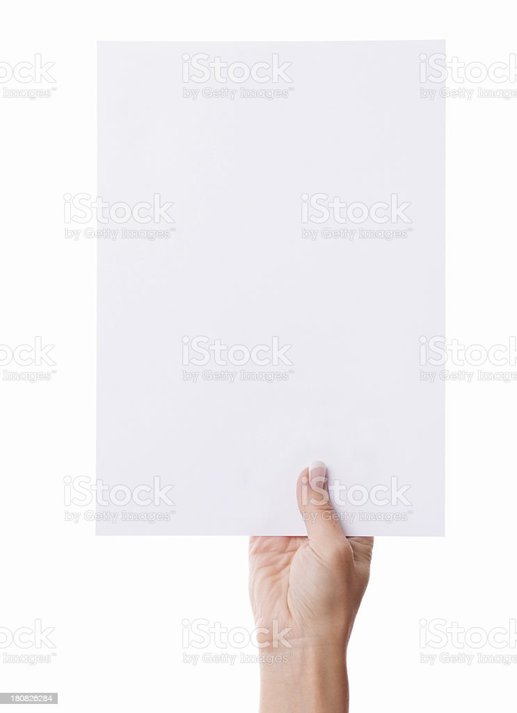 Woman`s hand holding a blank white a4 document isolated royalty-free stock photo
