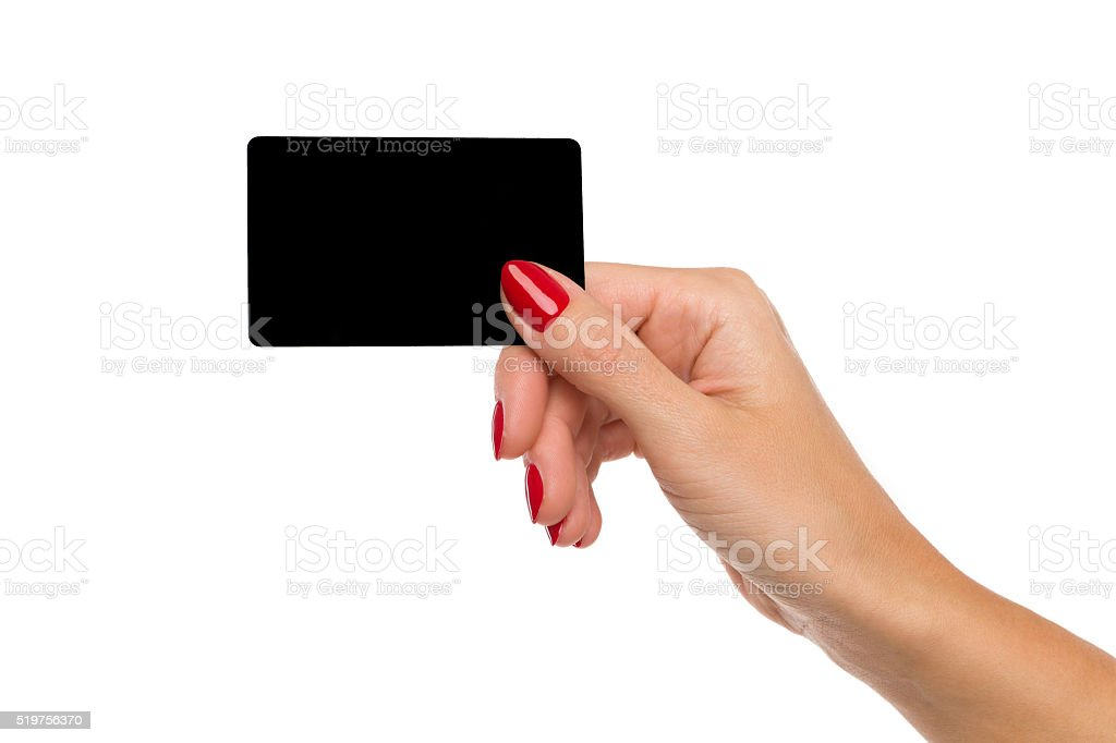 Woman's Hand Holding Black Card stock photo