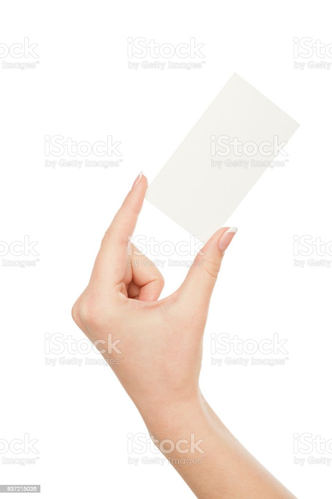 Woman's hand holding blank card for text message, crop, cut out stock photo
