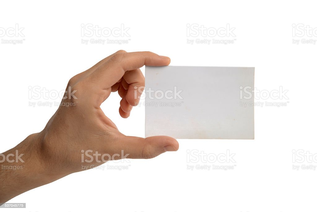Woman's hand holding blank card stock photo