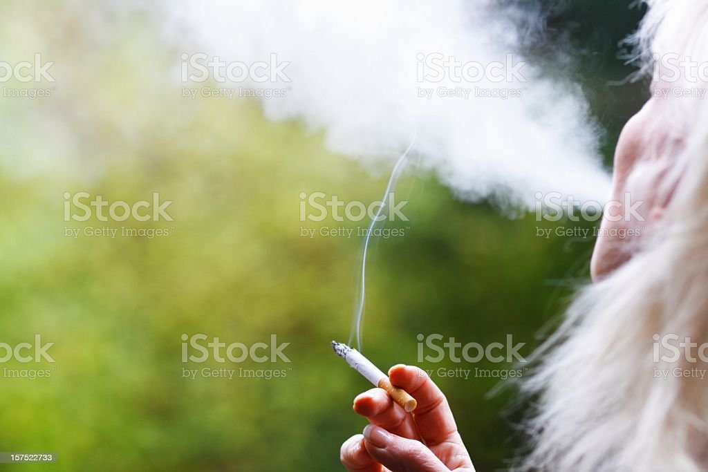 Woman`s  hand holding cigarette royalty-free stock photo