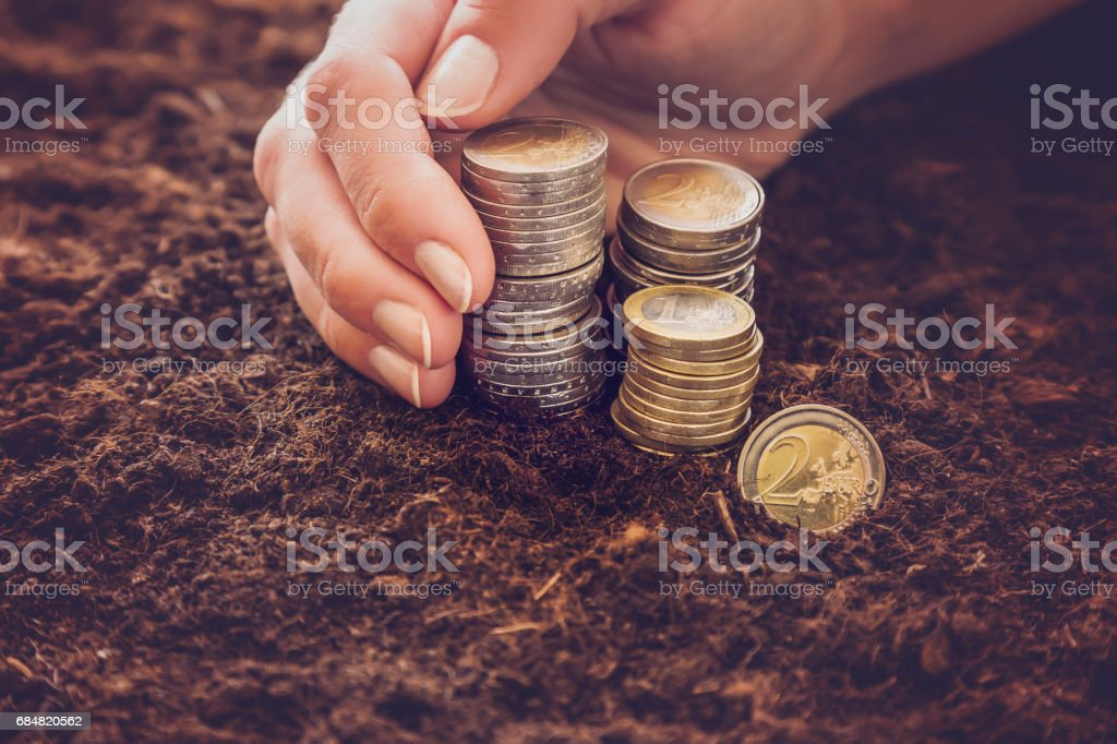 Woman's hand holding euro coins on the ground.  Earning money from agricultural works. stock photo