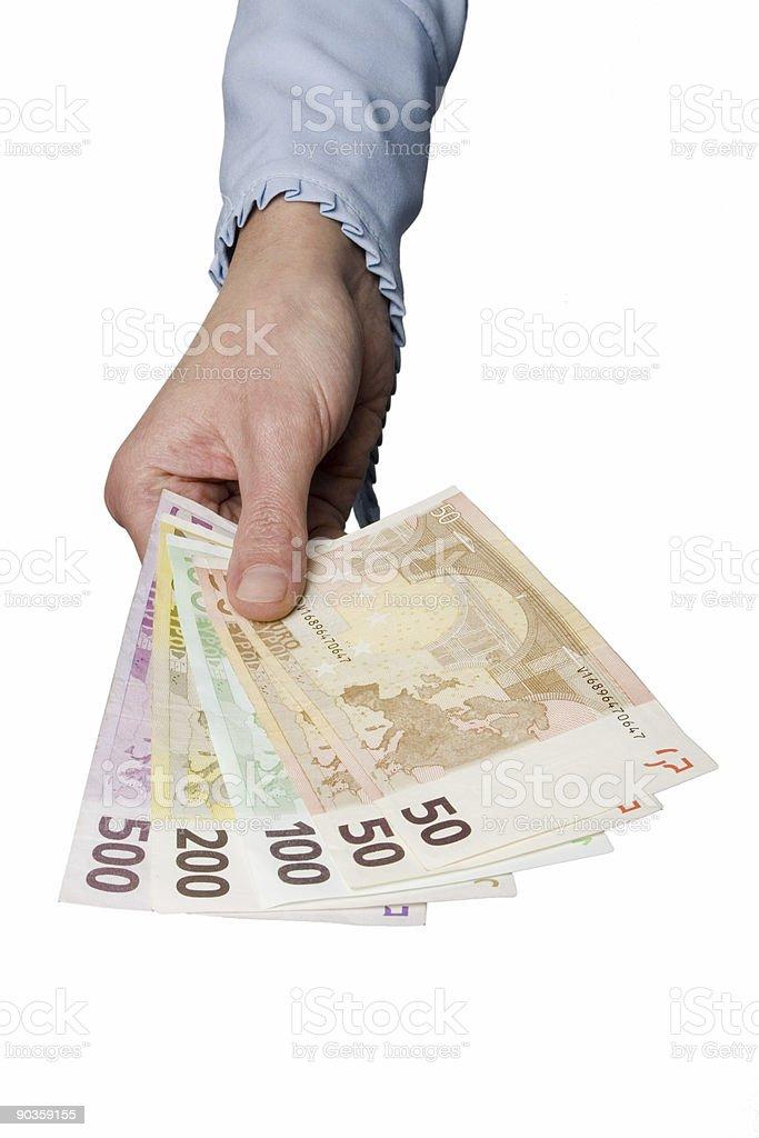 woman's hand holding euror bills royalty-free stock photo