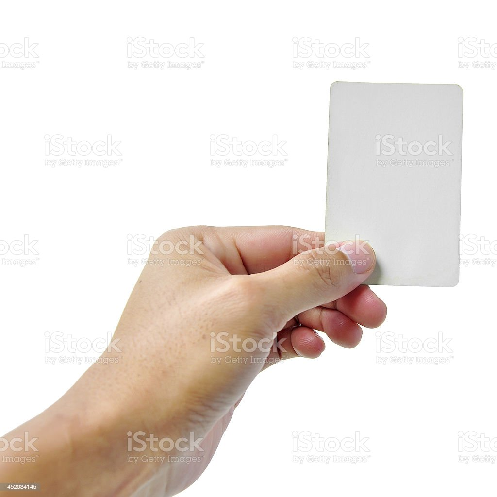 A woman's hand holding up an empty card stock photo