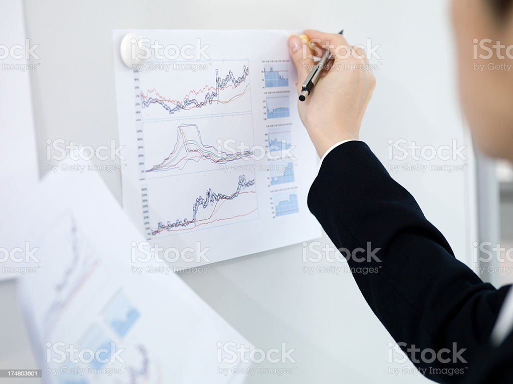 Woman's hand kept to document the whiteboard. royalty-free stock photo
