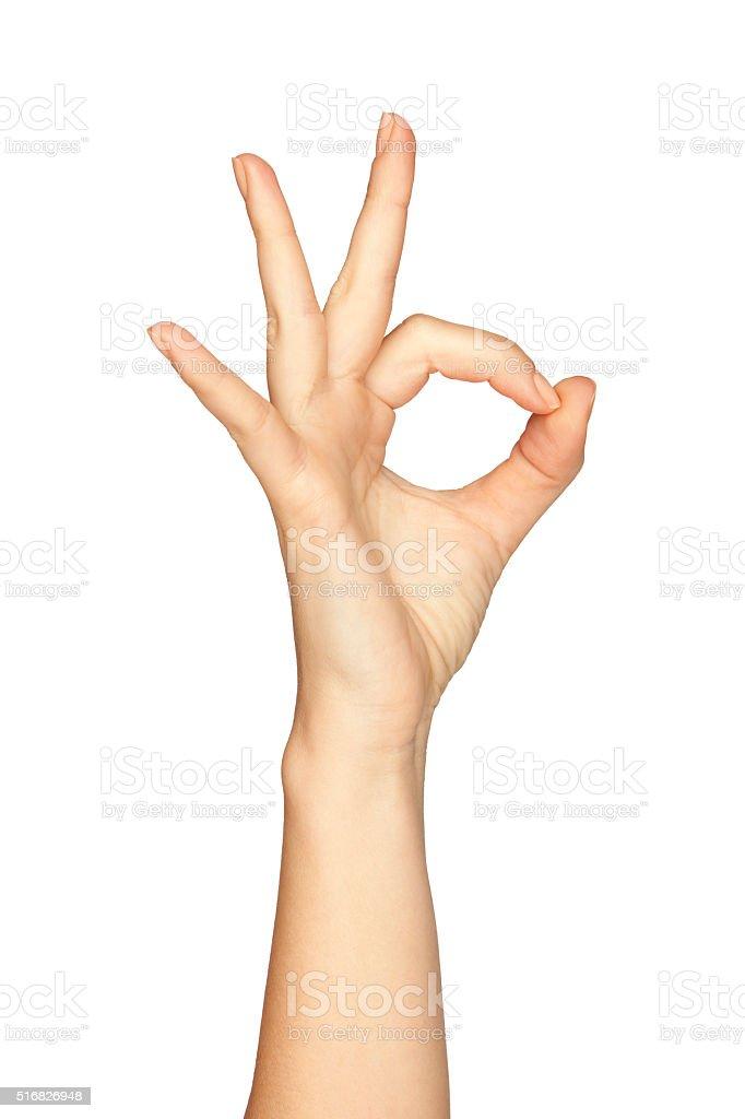 Woman's Hand Making The Zero Sign stock photo