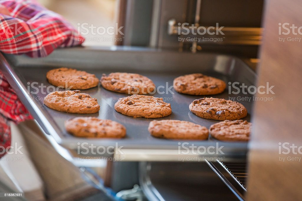 woman's hand removing cookie tray from oven in kitchen stock photo
