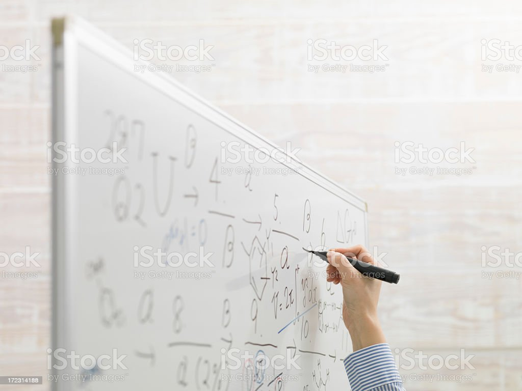 Woman's hand to write on top of the white board. royalty-free stock photo