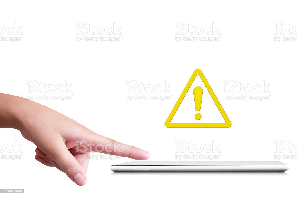 Woman's hand touching digital tablet with error message stock photo